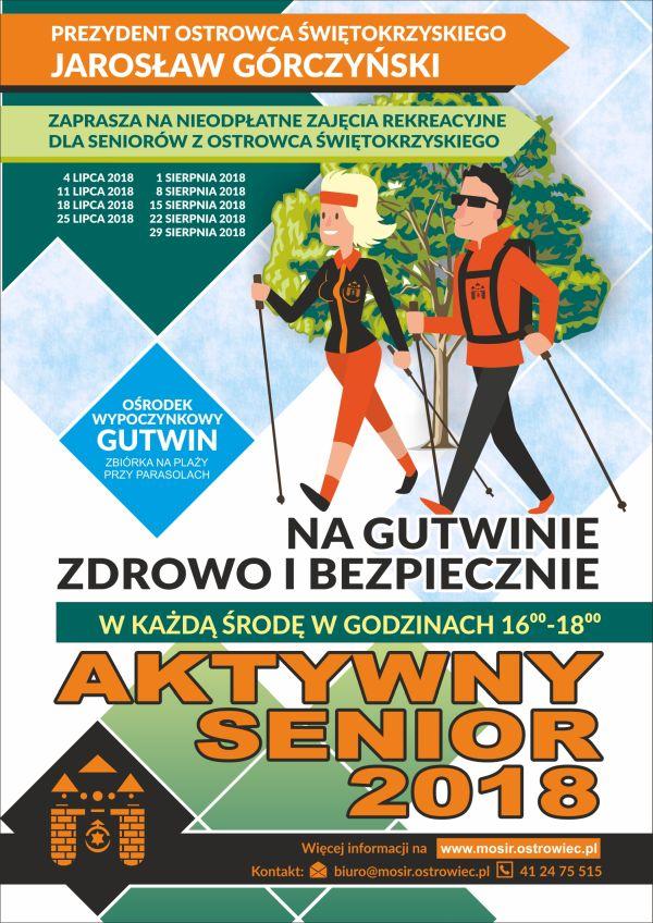 Aktywny Senior na Gutwinie zdrowo i bezpiecznie wakacje plakat