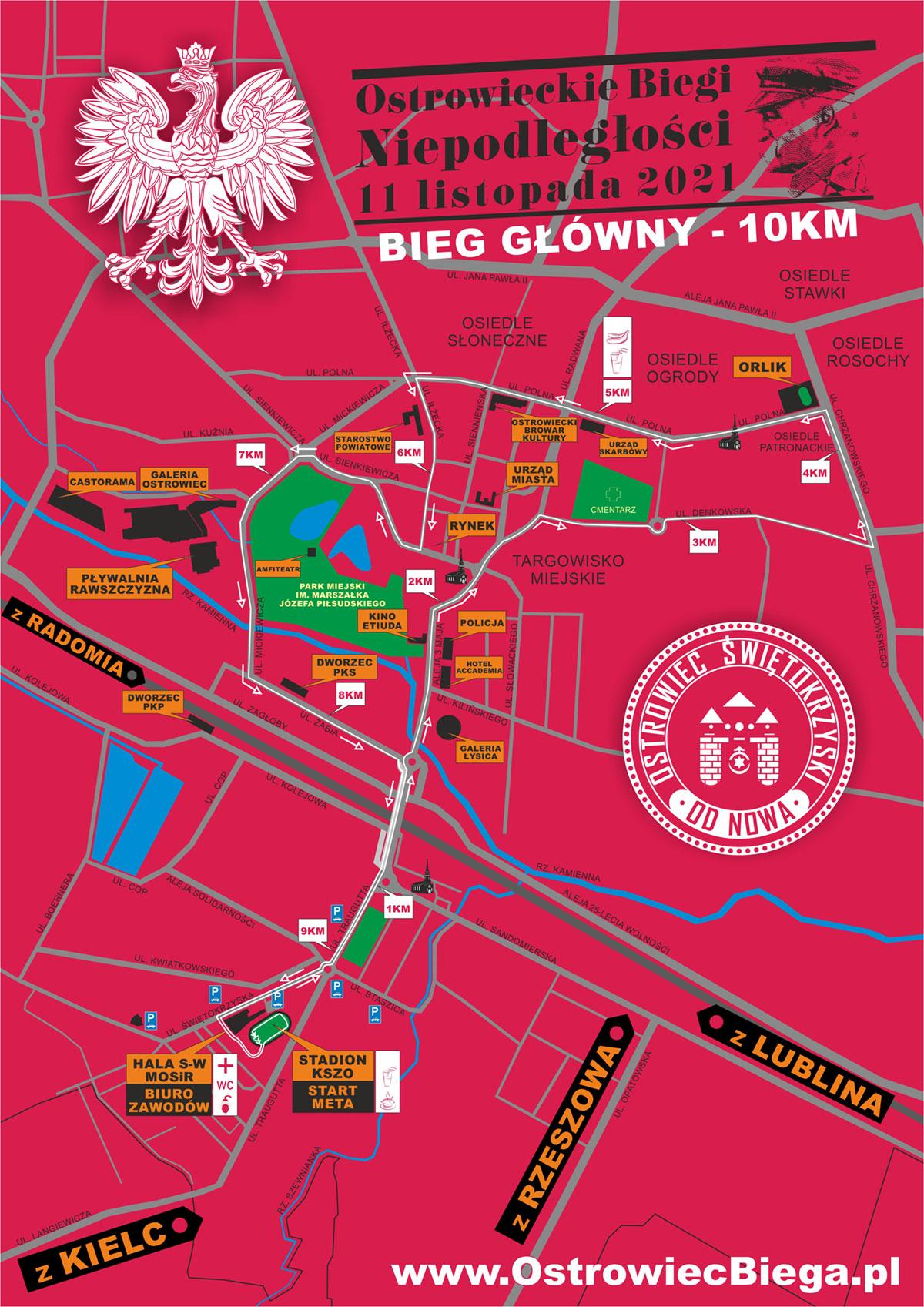 Ostrowieckie Biegi Niepodleglosci 2021 mapka 10km